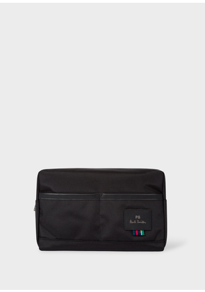 Men's Black Canvas Wash Bag With 'Cycle Stripe' Detail