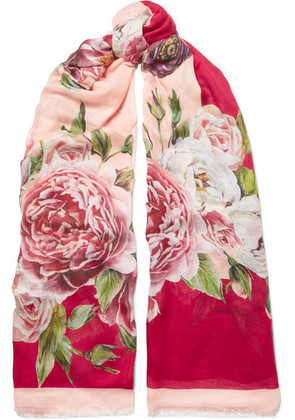 Dolce & Gabbana - Floral-print Modal And Cashmere-blend Scarf - Pink