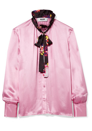MSGM - Pussy-bow Ruffle-trimmed Printed Satin Blouse - Baby pink