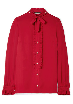 Gucci - Embellished Ruffled Silk Crepe De Chine Blouse - Red