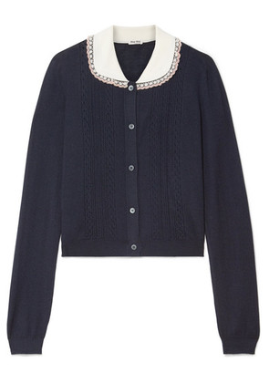 Miu Miu - Embellished Tulle-trimmed Cashmere And Silk-blend Cardigan - Midnight blue
