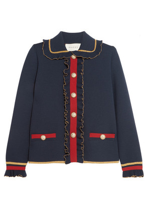 Gucci - Ruffled Metallic Merino Wool-blend Cardigan - Navy