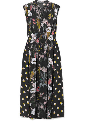 Markus Lupfer - Isla Printed Silk Crepe De Chine Midi Dress - Black