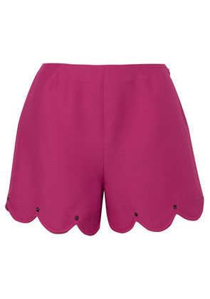 Valentino - Studded Scalloped Wool And Silk-blend Crepe Shorts - Bright pink
