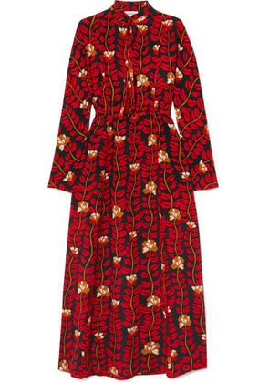 Sonia Rykiel - Printed Silk Crepe De Chine Dress - Red