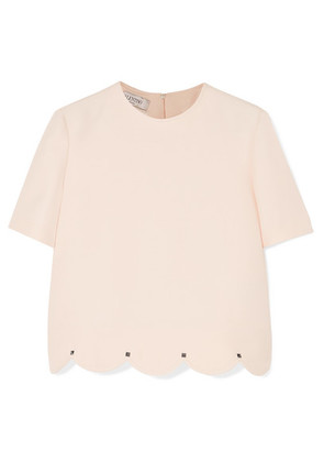Valentino - Studded Scalloped Wool And Silk-blend Crepe Top - Ivory