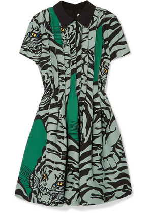 Valentino - Printed Wool And Silk-blend Crepe Mini Dress - Green