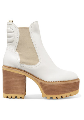 See By Chloé - Erika Leather Platform Ankle Boots - White