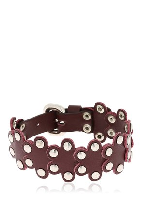 RED V PUZZLE STUDDED LEATHER BRACELET
