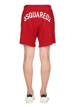 LOGO PRINTED COTTON JERSEY SHORTS