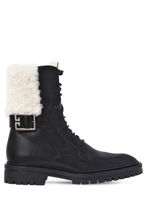 30MM AVIATOR LEATHER & SHEARLING BOOTS