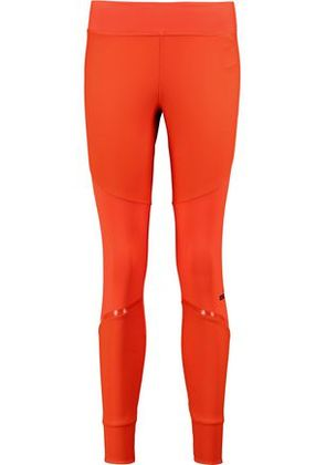 Adidas By Stella Mccartney Woman Paneled Stretch-jersey Leggings Papaya Size L