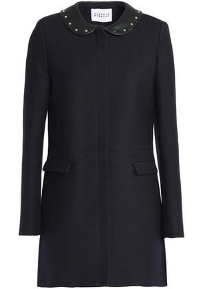 Claudie Pierlot Woman Studded Twill Coat Midnight Blue Size 40