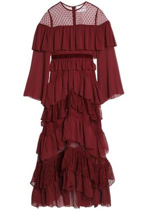 Perseverance Woman Point D'esprit-paneled Tiered Crepon And Lace Gown Burgundy Size 8