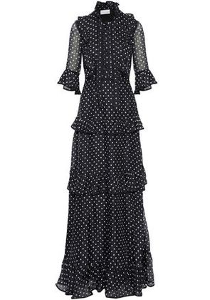 Mikael Aghal Woman Pussy-bow Tiered Polka-dot Silk-chiffon Gown Black Size 2