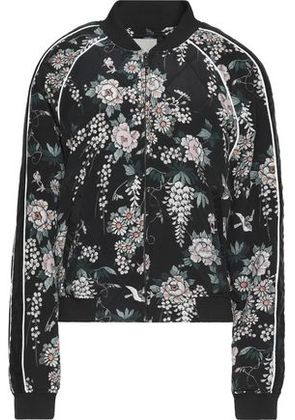 Joie Woman Mace Quilted Floral-print Silk Bomber Jacket Black Size M