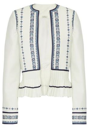Talitha Woman Sindhi Pleated Embroidered Crepe Peplum Jacket Ivory Size 16