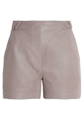 Carven Woman Paneled Leather Shorts Brown Size 40