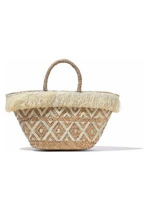 Kayu Woman Fringed Embroidered Straw Tote Neutral Size -