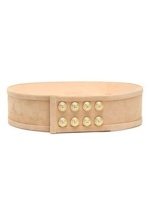 Balmain Woman Button-embellished Suede Belt Sand Size 38