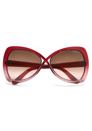 Tom Ford Woman Cat-eye Acetate And Silver-tone Sunglasses Crimson Size -