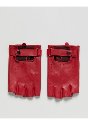 ASOS Leather Fingerless Gloves In Red - Red