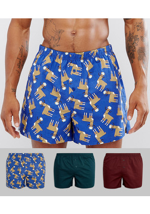 ASOS Woven Boxers With Llama Print 3 Pack SAVE - Multi