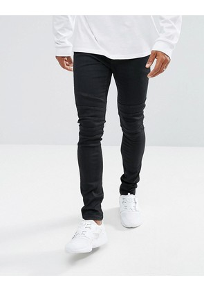 ASOS Super Skinny Biker Jeans In Coated Black - Black