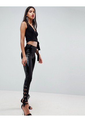 ASOS Leggings with Vinyl Panel & Lace Up Detail - Black
