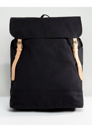 ASOS Backpack In Black Canvas With Faux Leather Trims - Black
