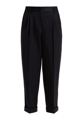 Straight-leg wool cropped trousers
