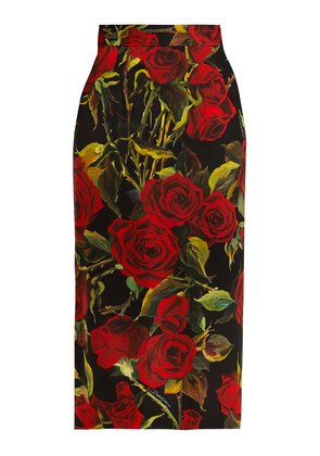 Rose-print charmeuse pencil skirt