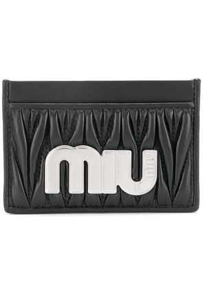 Miu Miu matelassé maxi logo card holder - Black