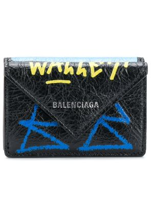 Balenciaga Paper mini scribble wallet - Black