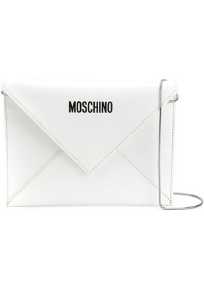 Moschino front logo shoulder purse - White