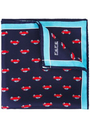 Fefè car print pocket square - Blue