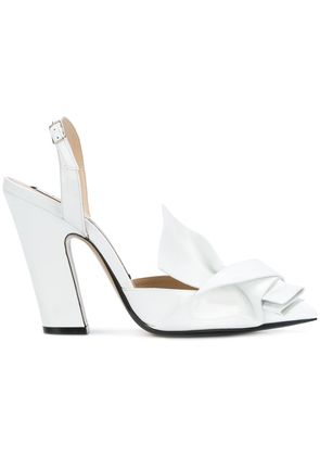 No21 abstract bow slingback pumps - White
