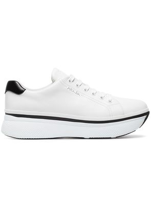 Prada White 55 Leather Flatform Sneakers