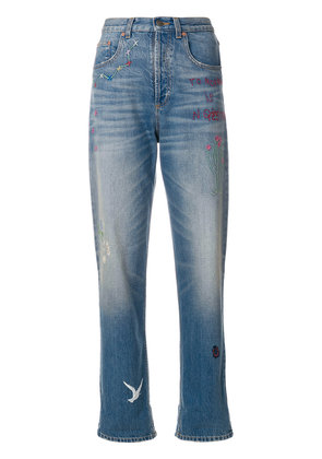 Gucci cropped embroidered jeans - Blue