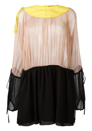 No21 ruffled shift dress - Nude & Neutrals