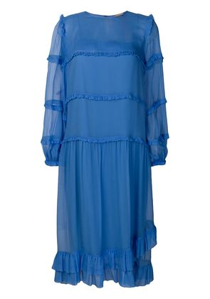 No21 ruffle detail layered dress - Blue