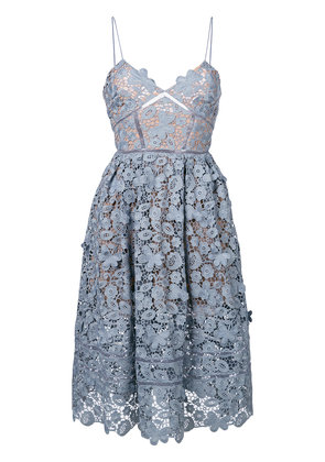 Self-Portrait 3D floral azealea dress - Blue