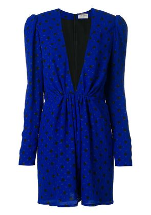 Saint Laurent polka dot mini plunge dress - Blue