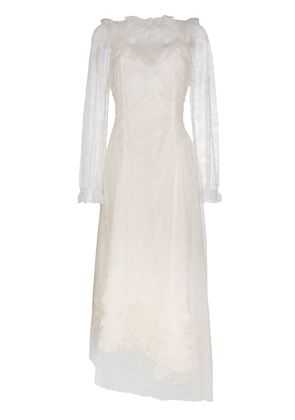 Preen By Thornton Bregazzi Saffon lace ruffle neck gown - White