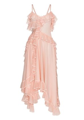 Alexander McQueen Asymmetric ruffled silk gown - Pink & Purple