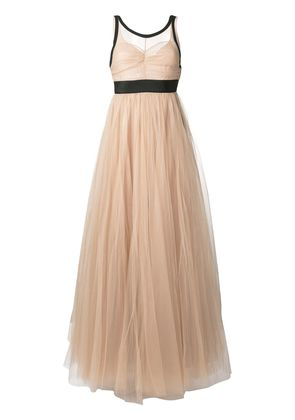 No21 sheer tulle evening dress - Nude & Neutrals