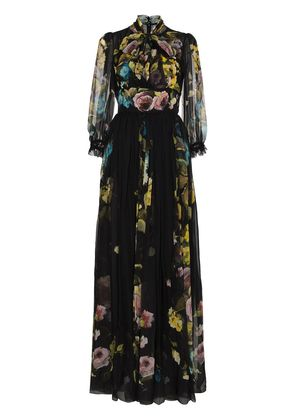 Dolce & Gabbana Silk Chiffon Floral Print Maxi Dress - Black