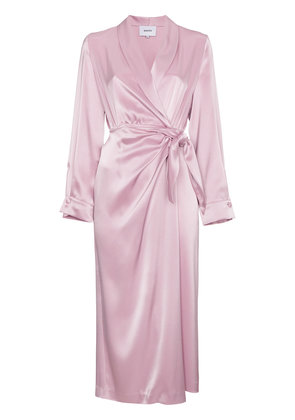 Nanushka Ezra satin wrap around dress - Pink & Purple