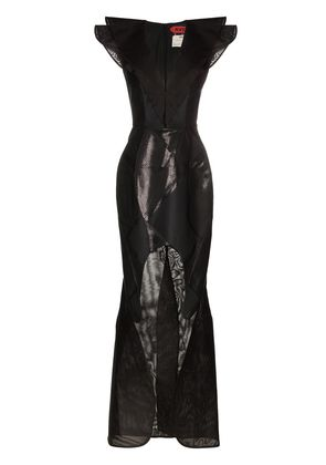 Ronald Van Der Kemp sleeveless V-neck ruffle cutout gown - Black