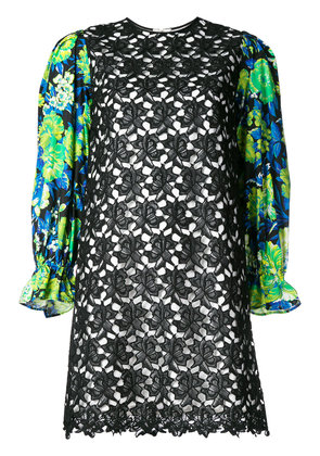 MSGM floral sleeve mini dress - Black